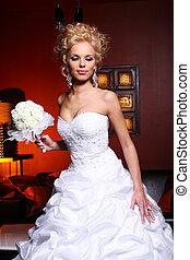jonge, en, mooi, bruid in huwelijk jurk