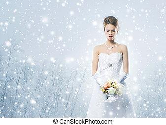 jonge, en, mooi, bruid, met, de, bloem boeket, in, winter, voorbeschikking