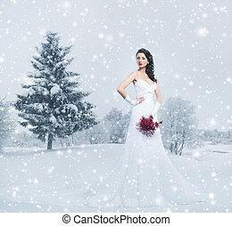 jonge, en, mooi, bruid, staand, met, de, bloem boeket, op