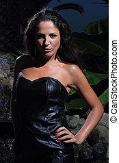 jonge, en, sexy, model, in, tropische , milieu