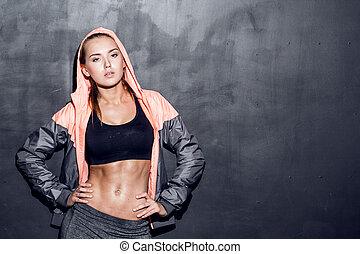jonge, fitness, vrouw
