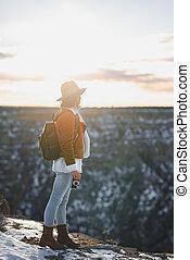 jonge, fotograaf, park, nationale