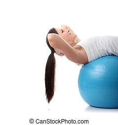 jonge, gelukkige vrouw, doen, fitness oefening