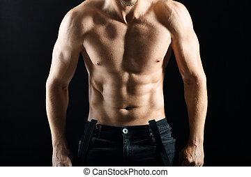 jonge, gespierd, sexy, sterke, torso, man