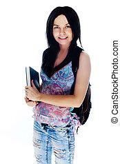 jonge, het glimlachen, student, woman., op, witte achtergrond