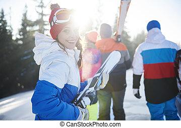 jonge, heuvel, snowboarders, volwassenen, besneeuwd