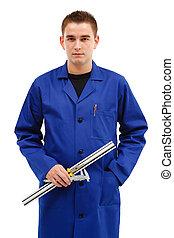 jonge, ingenieur, met, gereedschap