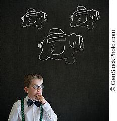 jonge jongen, denken, financiën