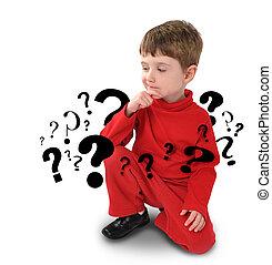 jonge jongen, met, denken, over, vraag