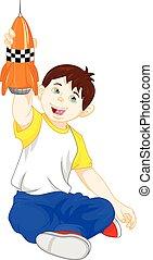 jonge jongen, spelend, speelgoed raket