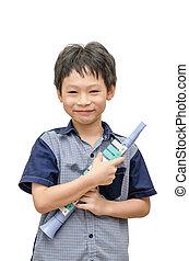 jonge jongen, vasthouden, zijn, trompet, speelbal