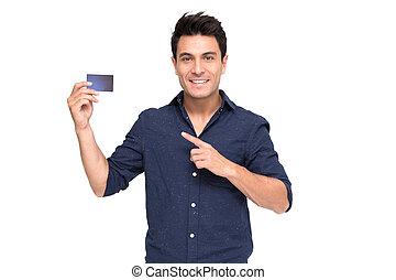 jonge, kaukasisch, man, vasthouden, persoonlijk, rentekaart, vrijstaand, op wit, achtergrond