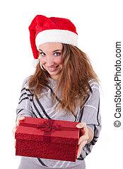 jonge, kaukasisch, vrouw, offergave, een, cadeau