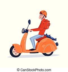 jonge, kerel, paardrijden, elektrische scooter, ouderwetse , motorfiets, vrijstaand, op wit, achtergrond