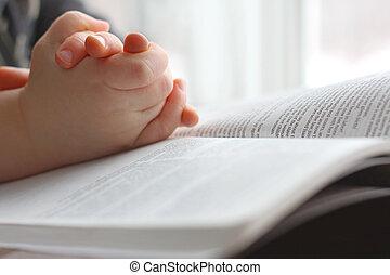 jonge, kind, handen, biddend, op, heilige bijbel