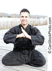 jonge, kung-fu, leraar