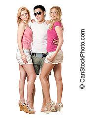 jonge man, en, twee, mooie meisjes