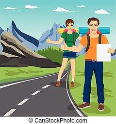 jonge man, en, vrouw, hitchhiking, op, straat, in, bergen