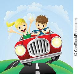 jonge man, en, vrouw, in auto