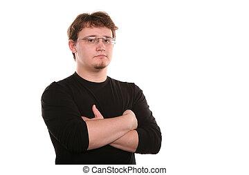 jonge man, in, de, bril