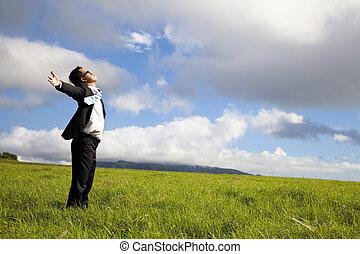 jonge man, in, groen veld, onder, blauwe hemelen