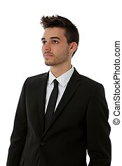 jonge man, in, zwart kostuum