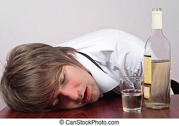 jonge man, met, alcohol