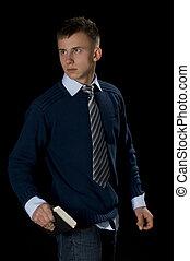 jonge man, met, de, bijbel