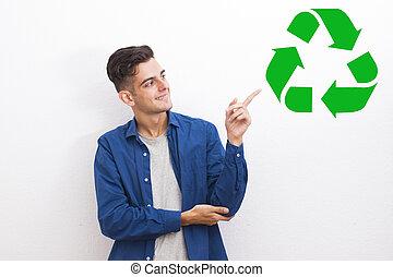jonge man, met, de, symbool, van, hergebruiken