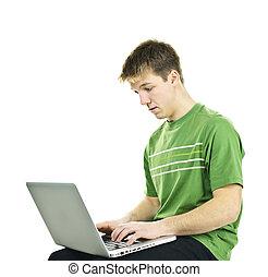 jonge man, met, laptop computer