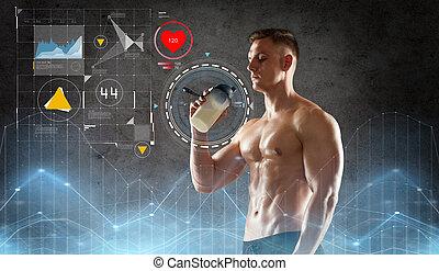 jonge man, of, bodybuilder, met, proteine verwiken, fles