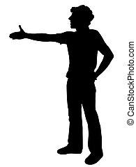 jonge man, offergave, om te, schudden, hand