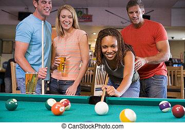 jonge man, onderwijs, een, jonge vrouw , om te spelen, pool