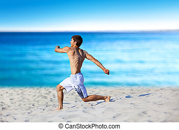 jonge man, rennende