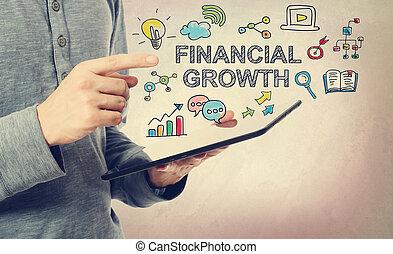 jonge man, richtend bij, de financiële groei, concept