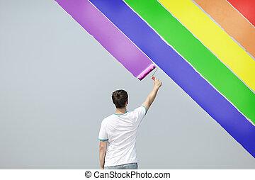 jonge man, schilderij, regenboog