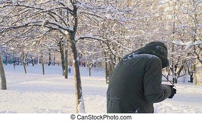 jonge man, spelend, sneeuwballen, in het park, 4k