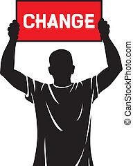 jonge man, vasthouden, een, spandoek, -, veranderen