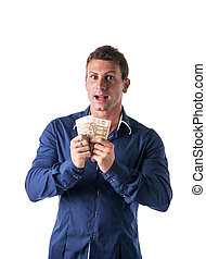 jonge man, vasthouden, twee, bankbiljetten