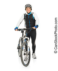 jonge, mannelijke , fietser, met, zijn, fiets