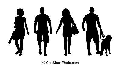 jonge mensen, en, vrouwen, wandelende, buiten, silhouettes,...