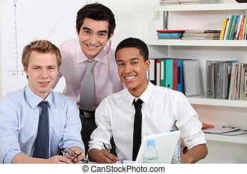jonge mensen, op, een, computer