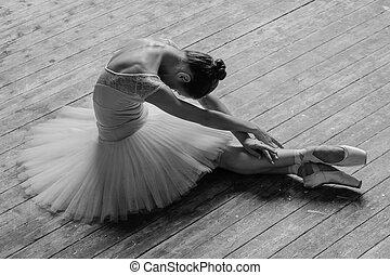 jonge, mooi, danser, het poseren, in, studio