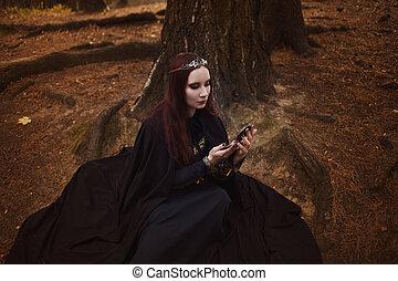 jonge, mooi, en, mysterieus, vrouw, beeld, van, bos, elf,...
