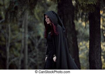 jonge, mooi, en, mysterieus, vrouw, in, hout, in, black ,...