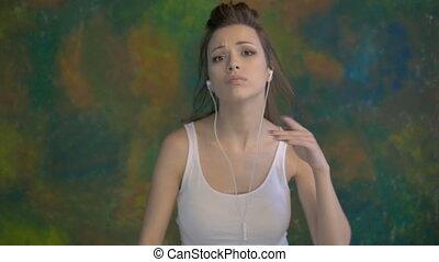 jonge, mooi, meisje, dancing, moderne, dance., zeer, aardig, moves.