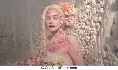 jonge, mooi, meisje, elf., creatief, make-up, en, bodyart