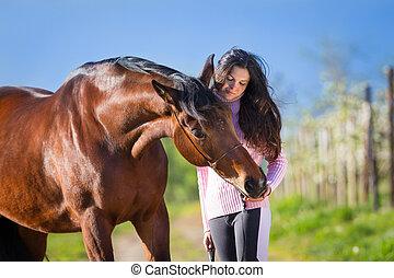 jonge, mooi, meisje, met, een, paarde