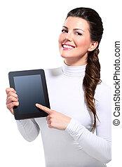 jonge, mooi, vrolijke , zakenmens , met, tablet