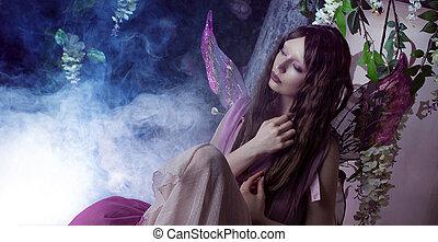 jonge, mooie vrouw, in, de, beeld, van, elfjes, magisch,...